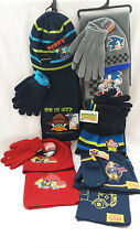 Childrens Hat Scarf Glove Set Angry Bird Fireman Sam Perry Sonic The Hedgehog