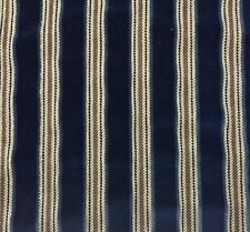 HIGHLAND COURT GENEVA STRIPE INDIGO BLUE BRAIDED LOOK VELVET FABRIC REMNANTS