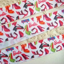 "1"" (25mm) Grosgrain Ribbon Printed Barbie High-heel Shoes DIY Craft Z107 E#"