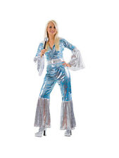Ladies Waterloo 1970s 70s Pop Jumpsuit Hippy Disco Fancy Dress Costume New 6-24