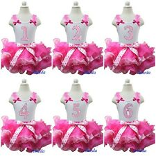 Hot Light Pink Pettiskirt Tutu Bling Number Birthday Tank Top Party Dress 1-6Y