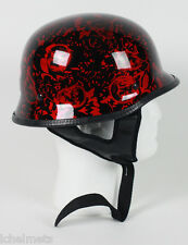 103BYB - DOT German BoneYard Red Motorcycle Half Helmet Skull Cap