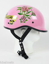 EXPR - DOT Polo EX Style Lady Rider Pink Motorcycle Half Helmet Skull Cap