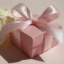 New Pink Candy Boxes With Pink Ribbon Wedding Party Baby Shower Favor Gift Boxes