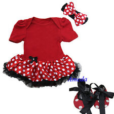 Baby Minnie Mouse Romper Pettiskirt Bodysuit Tutu Red Polka Dots Crib Shoes 0-18