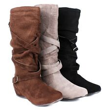 Black / Brown / Gray Color Slip On Dual Buckle Womens Flat Heels Mid-Calf Boots