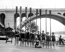 1926 WOMEN'S GIRL'S CREW ROWING TEAM GROUP PHOTO Historical Largest Size