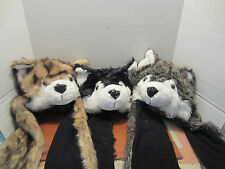FULL HOOD HUSKY DOG ANIMAL HAT  MITTEN AND CLAWS DIFFERENT COLORS TO CHOOSE FROM