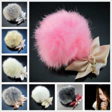 Free real rabbit hair bobbles bowknot Crystal Pendant Ponytail Holder Hairpin
