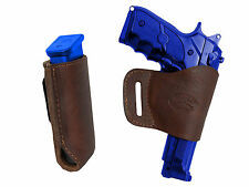 Barsony Brown Leather Yaqui Gun Holster w/Mag Pouch for Ruger, Star Full Size