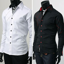 Luxury Sexy Men Slim Fit Muscle Patched Long Sleeve Casual/Business/Dress Shirts