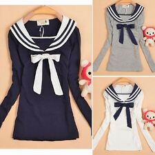 Fashion Sailor Style Long Sleeve Womens Striped Collar Bowtie T-shirt Tops Tee