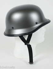 Gun Metal German Style Motorcycle Novelty Half Helmet Skull Cap
