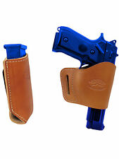 Barsony SaddleTan Leather Yaqui Gun Holster w/Mag Pouch for CZ EAA FEG Full Size