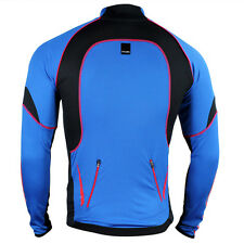 Winter Men's Cycling Outdoor Sports Long Sleeve Blue COmfy  jersey 4 Size XS~L