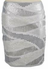 NWT WHITE HOUSE BLACK MARKET GREY SEQUIN SKIRT 00-0-2-4-6-8-10-12-14