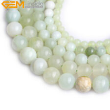 "Geunine Hua Show Jade Round Loose Beads Natural Stone Strand 15"" Light Green"