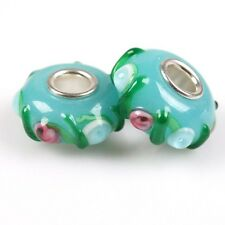12/60pcs Hot Sale Colorful Dots Charms Lampwork Glass Beads For Europe Bracelet