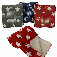 """Super Soft """" Stars """" Sofa / Bed Fleece Throw & Blanket in Grey / Red or Navy"""