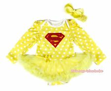 Super Hero Yellow White Dots L/S Bodysuit Cotton Girls Costume Baby Dress NB-18M