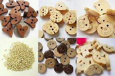 Wooden Buttons. 20mm Hearts, 10mm,15mm Round.Bears,Cars,Flowers. (BOX86)