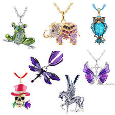 U Like Pendant Necklace Chain Retro Skull Dragonfly Owl Frog Pegasus Choose Mix