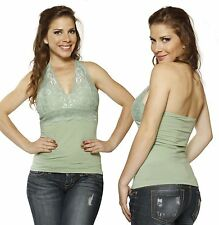 SML GREEN Halter Lace Floral Stretch Padded Casual Clubbing Tank Tee Shirt Top