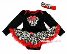 Leopard Minnie Black Long Sleeve Bodysuit Red Leopard Baby Pettiskirt NB-18Month