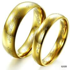 2PC The Lord of the Rings Couple Jewelry Wedding Band Gold Color No Fade