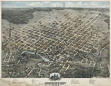 1873 PANORAMIC HISTORICAL WALL MAP HOUSTON TEXAS