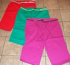 Womens Plus FADED GLORY~CAPRIS PANTS~sz 22W~NEW~Your Color Choice~BELT~Cropped