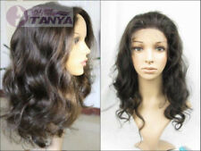 "12""-24"" front lace wigs loose body wave 100% indian remy human hair wig 2# brown"
