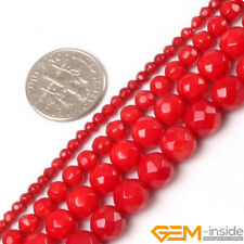 "Red Coral Gemstone Faceted Round Loose Spacer Beads For Jewelry Making 15"" YB"