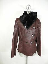 Jessica Simpson NWT Brown Modern Faux Shearling Jacket, Faux Fur Collar, size S