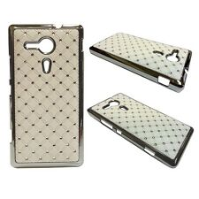 RHINESTONE DIAMANTE GEM HARD BACK CASE IN WHITE SONY XPERIA SP M35H C5302
