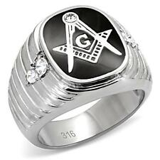 MEN'S STAINLESS STEEL  FREEMASON MASTER MASON CRYSTAL RING LODGE BLACK SILVER