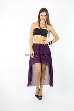 Summer,Women's,Sexy,Casual,Cocktail,Purple Sheer Tiered Layer High Low Hem Skirt