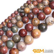 "Natural Picasso Jasper Gemstone Round Beads For Jewelry Making 15"" 6mm 8mm 10mm"