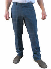 Mens Heritage Blue Tweed Sta Prest Stay Pressed Retro Check MOD Golf Trouser