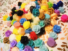 Resin Flower Cabochons 10mm Assorted Color Cabochons Rose Cabochons For Earrings