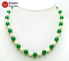 """SALE 6-7mm natural White FreshWater Pearl & 8mm Green Jade 18"""" Necklace-com1016"""