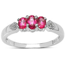 STERLING SILVER  SMALL 3 STONE PINK TOPAZ ENGAGEMENT RING - SIZE I J L P Q R S