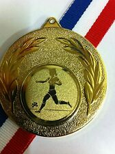 20 X 50mm Female Football Medals With Ribbons,Gold,Silver,Bronze