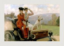 Staffordshire Terrier Pit Bull Dog Ladies Old Car Vintage Poster Repro FREE S/H