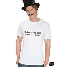 Personalized Script Father of the Bride T-Shirt Wedding Bridal Party Gift Tee