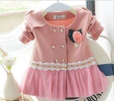 Baby girls kids long sleeve lace cardigan coat Parkas age 6 months-3Y