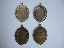 18x25mm Alloy Oval Antique Silver/Bronze Blank Pendant Trays Cabochon Settings