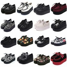 Womens Lace UP Platform Flat Punk Goth High Platform Creepers Shoes Size 5-8.5