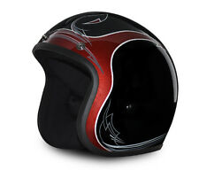 Black Cherry Open Face Helmet - 3/4 Helmet - Bobber Motorcycle Helmet by Daytona