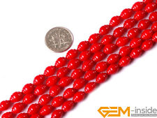 6x8mm Corkscrew Shape White Red Coral Jewelry Making Gemstone Beads Strand 15""